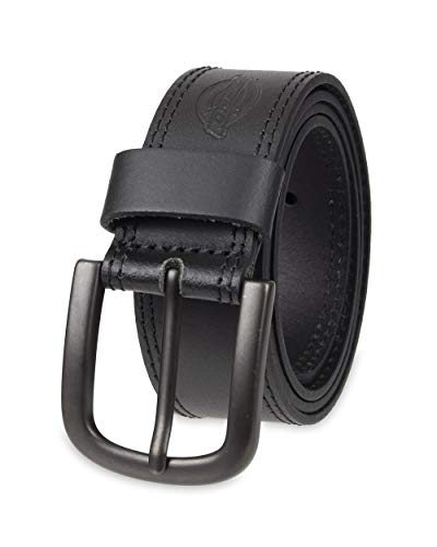 Dickies 100% Leather Jeans Belt with Stitch Design and Prong Buckle 11/2 In., Black,44