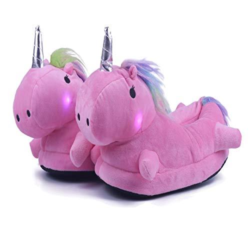 Lovelysi 3D Nuevo Zapatillas De Estar por Casa,LED Unicornio Luz Felpa Suave Respirable Calentar Zapatillas Mujer Hombre Niñas Niños Animal Zapatos El Verano Invierno