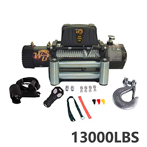 Deebior Universal Steel Rope 13000LB 12V 265/1 Gear RatioElectric Recovery Winch Wireless Remote Control 4-Way Roller Fairlead for Pickup Truck 4WD JEEP SUV Van Train Boat Trailer