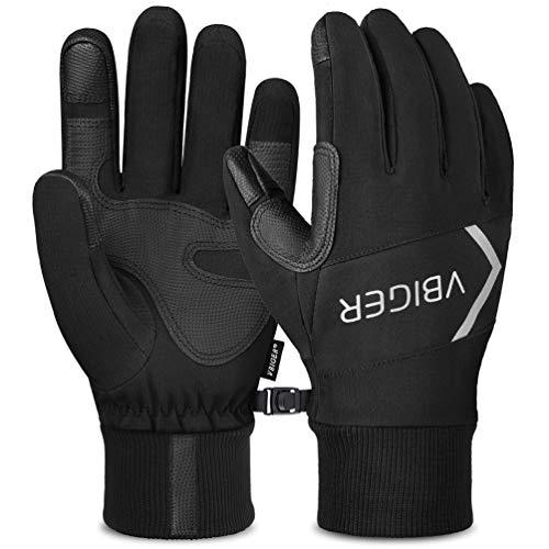 VBIGER Sporthandschuhe Herren Damen, Fahrradhandschuhe Unisex Anti-Rutsch Touchscreen Handschuhe,Winterhandschuhe für Radfahren,Laufen und Reiten,Schwarz.