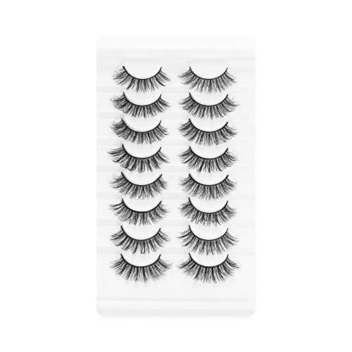 8 Pairs Frau Werkzeuge zum Einbinden Wispies Fluffy Lange Natur Falsche Augenbrauen Vollständige Lautstärke Erweiterung der Augenlast 3D Mink(A15)