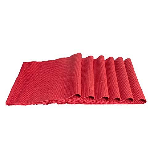 Nicola Spring Rechteckiges Tischset aus Baumwolle - gerippt - Rot - 480 x 330 mm - 6 Stück
