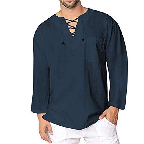 Camiseta de Manga Larga de Primavera y otoño para Hombre, Moda con Cuello en V, decoración de Personalidad, Color Puro, Informal, cómoda Sudadera L