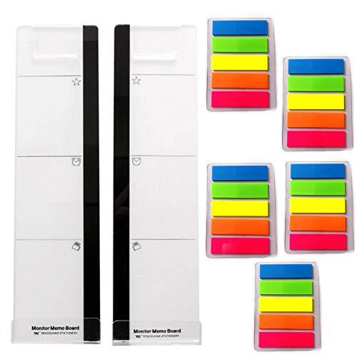 2 unids monitor de computadora tablero de notas acrílico Monitores tablero de mensajes y 5 paquetes de notas adhesivas de color para monitores de computadora pantalla panel lateral