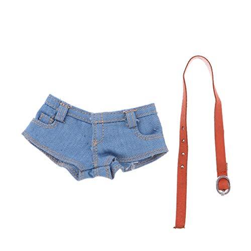 Hellery Ropa a Escala 1/6 para Cuerpo Femenino - Shorts Vaqueros Calientes con Cinturón para Figuras de Tbleague, Modelos Coleccionables de Phicen - Azul Claro
