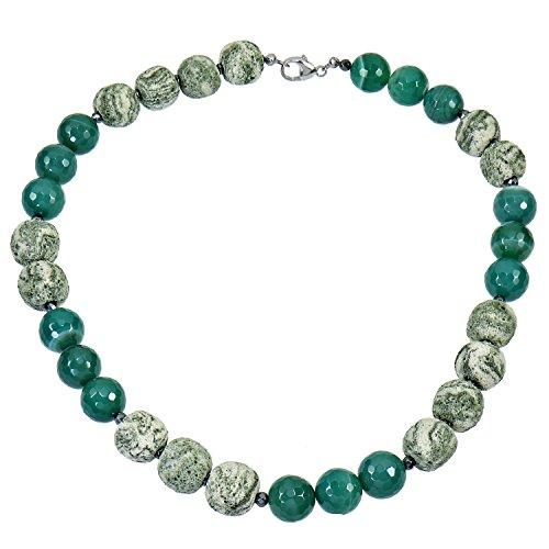 YVESSE Damen Halskette Collier Kette für Frauen Sterling Silber 925 rhodiniert Achat grün Lavastein 50cm Karabiner , Geschenk