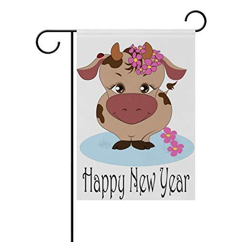 AEMAPE Vaca Linda Feliz año Nuevo Todas Las Estaciones Banderas de jardín Banderas Decorativas de jardín al Aire Libre Banderas de jardín de Vacaciones y de Temporada