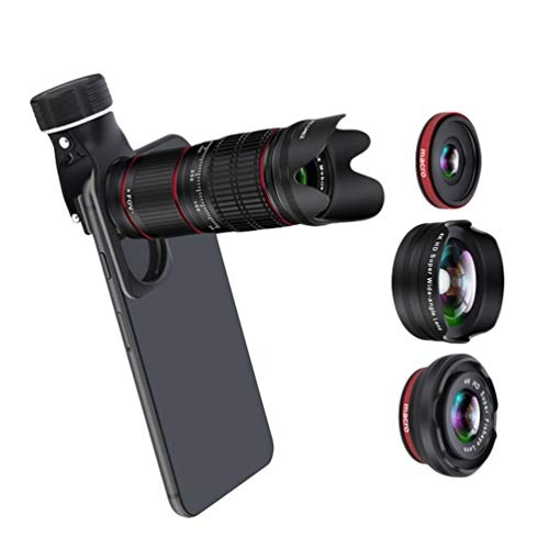 Yujeet Weitwinkel-Makro Fisheye Externes HD-Smartphone-Objektiv, Teleobjektiv, HD-Monokular-Teleskop (Schwarz)