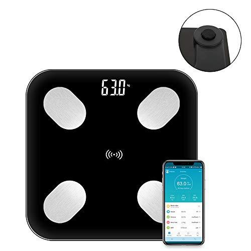 Körperfettwaage,Bluetooth Personenwaage mit App, Bluetooth Körperanalysewaage für iOS & Android,Smart Digitale Waage für Körperfett, BMI, Gewicht, Muskelmasse, Wasser, Protein, BMR