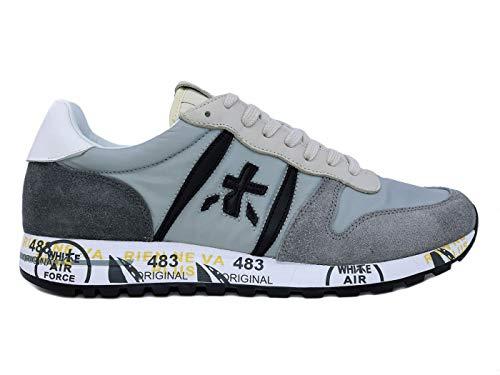 PREMIATA Eric 4666 Herren-Sneaker aus Leder und Wildleder, Grau, Grau - grau - Größe: 42 EU