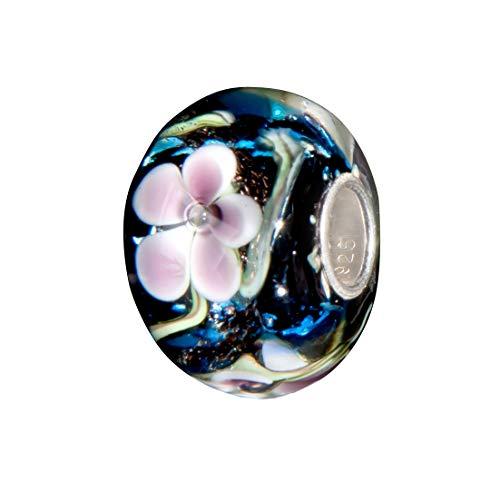 Andante-Stones 925 Sterling Silber Glas Bead Charm Sealife (Ozeanblau mit rosa-Taupe Blumen) Element Kugel für European Beads + Organzasäckchen
