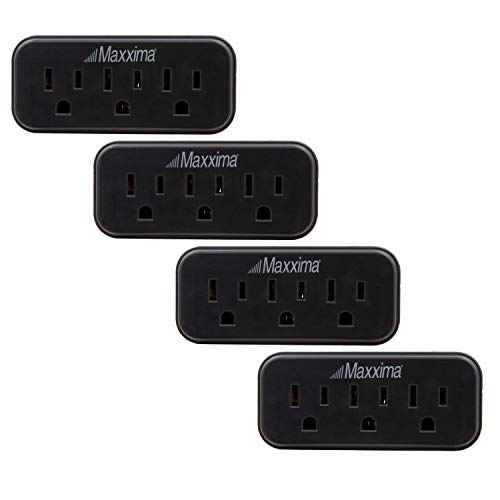 Maxxima 3 Grounded Multi Outlet Adaptor Wall Plug, Turn one outlet into 3, Black (Pack of 4)