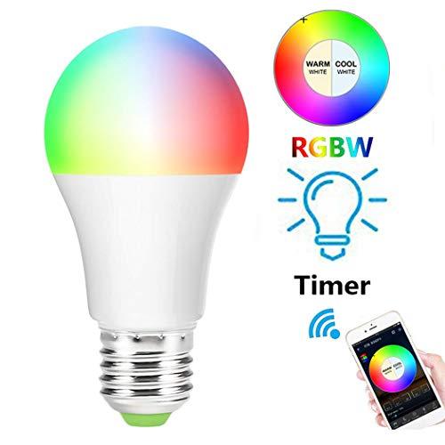 Tradrou - Lampadina LED E27, 7 W, Wi-Fi, intelligente, colori RGB, compatibile con Amazon Alexa, Google Home IFTTT, lampadina E27 LED, telecomando tramite app gratuita, timer e condivisione