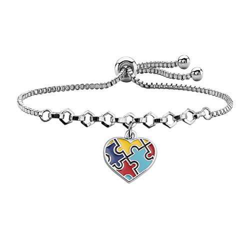 Autism Awareness Keychain Gifts for Autistic Colorful Puzzle Piece Key Ring Set of 2 (9.1inches adjut bracelet)