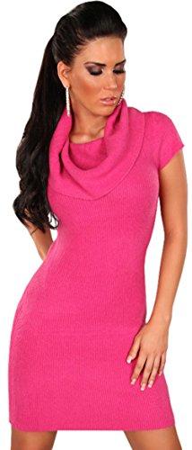 In Style Damen Strickkleid & Pullover kurzärmelig mit weitem Rollkragen Einheitsgröße (34-40), pink