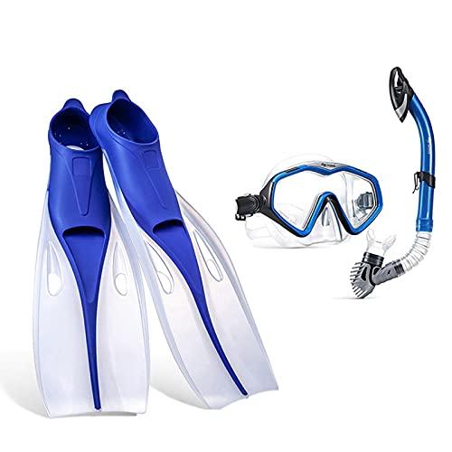 QZH Juego de Snorkel, Equipo Profesional de Snorkel Gafas de natación Tubo de respiración Aleta de Buceo Ajustable Niños Adultos Natación Aletas de Comodidad Aletas,Azul,XS
