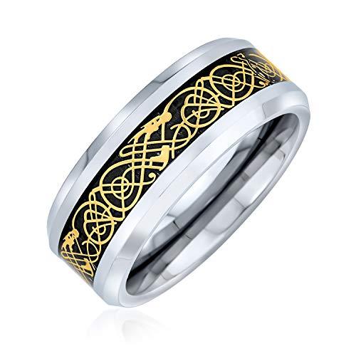 Bling Jewelry Golden Schwarz Silber Zwei Ton Keltische Knoten Drachen Inlay Paare Titan Hochzeit Band Ringe Für Männer Für Frauen 8Mm