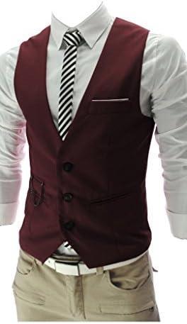 Vest, QinYing V-neck Sleeveless Slim Fit Jacket Men Business Suit Red XXXL