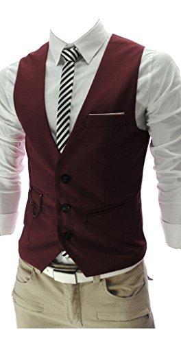 QinYing Vest, V-Neck Sleeveless Slim Fit Jacket Men Business Suit Red XXL