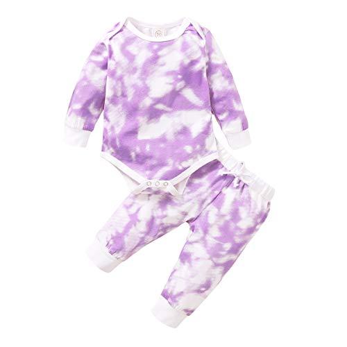 Neugeborene Baby Jungen Mädchen Herbst Kleidung Set Batik-Druck Outfits Kleinkind Langarm Rundhalsausschnitt Strampler und Hose mit Kordelzug Gr. 74, violett