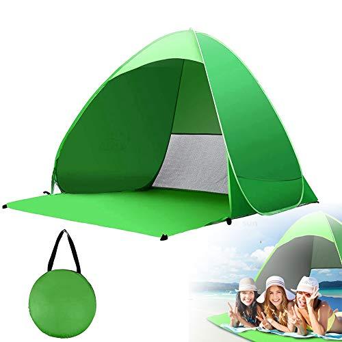 Tienda De Playa Portátil,Beach Tent Ligera Pop Up Sun Shelter Protección Solar UV Impermeable(Verde)
