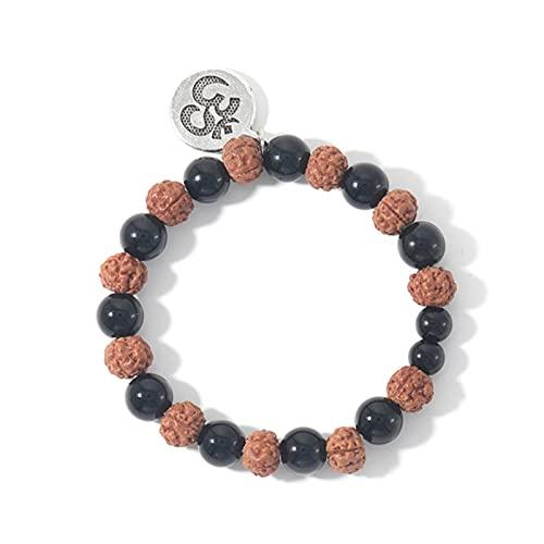 Sjzhdl Rudraksha & Black Onyx Yoga Pulsera de Cuerda elástica para Hombres y Mujeres Encanto de Moda Brazalete de energía OM Colgante joyería de Piedra semipreciosa
