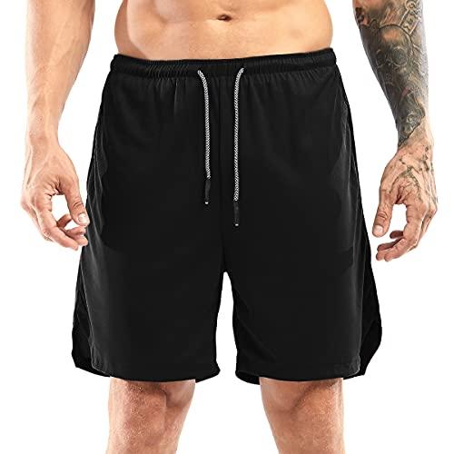 Yidarton Shorts Herren Sport Sommer 2 in 4 Kurze Hosen Schnelltrocknende Laufshorts Fitness Joggen und Training Sporthose mit Tasch