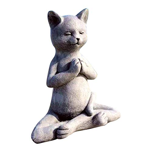 MaxDelic Cat Statues for Garden Yoga Cat Garden Gnome Statue,Outdoor Garden Gnomes Buddha Meditation Cat Statue Best Art Décor Indoor/Outdoor Garden Gnome Sculpture for Patio, Yard or Lawn (Cat-Gray)