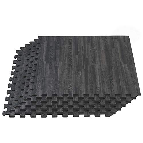 "Forest Floor Thick Printed Foam Tiles, Premium Wood Grain Interlocking Foam Floor Mats, Anti-Fatigue Flooring, 3/8"" Thick, 16 Square Feet (4 Tiles), Carbon"