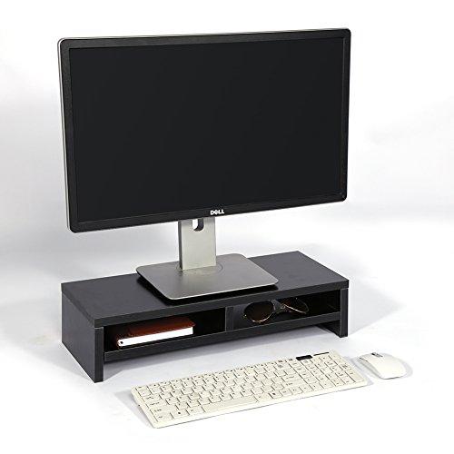 Elevador de Monitor de Computadora de Madera, Soporte para Monitor de Computadora Portátil 2 Niveles con 2 Compartimentos Abiertos, para PC TV Tableta Ordenador de Escritorio 50 x 20 x 11.7cm