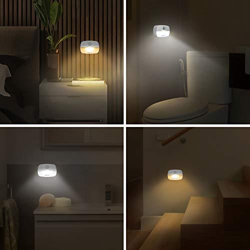 ZISUYU - Luz de sensor de movimiento, luz de noche LED para interiores, luz nocturna, luces a pilas para inodoro, armario, baño, dormitorio, pasillo, escalera