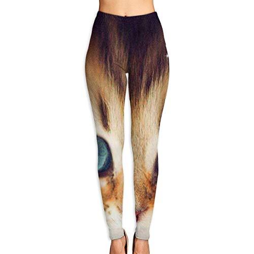 Ewtretr Yoga Pilates Hosen Fitnesshose für Damen, Blue Eyes Cat Printed Yoga Pants for Women Tummy Control Workout Running Stretch Yoga Leggings