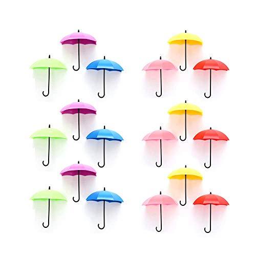 N/D Wandhaken Regenschirm, Schlüsselaufhänger Selbstklebend Klebehaken Regenschirm zum Aufhängen Regenschirm für Küche Bad Wand, Handtuchhaken Kleiderhaken (18 Stück, Nicht Nordisch)