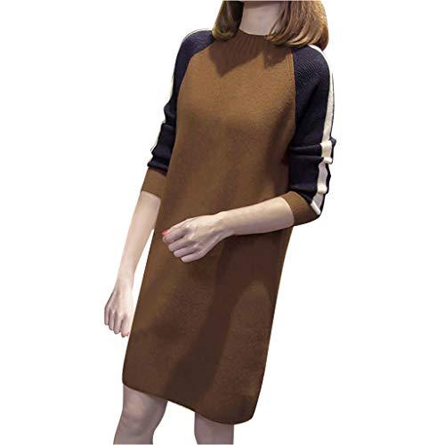ღLILICATღ Mini Vestido de Jersey Suéter Suelto de Manga Larga Coincidencia de Colores con Cuello Redondo de Punto para Mujer Invierno Fiesta Falda Recta