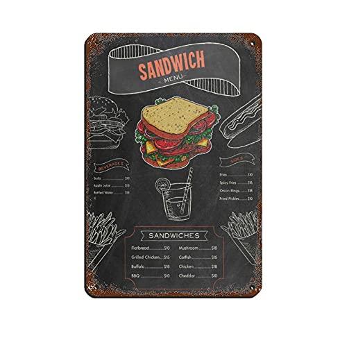bar sandwiches Sandwich Sandwiches Menu Retro Tin Sign Vintage Metal Pub Club Cafe bar Home Wall Art Decoration Poster Retro 8×12inch(20×30cm)