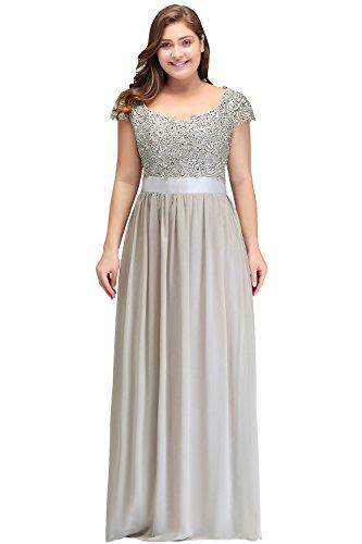 Misshow Maxikleider 44 Spitze Chiffon Große Größen Kleid Rückenfrei Partykleider Kleid