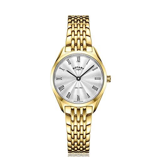 Rotary Mujer ultradelgada | Reloj de Acero Chapado en Oro | Esfera Plateada LB08013/01