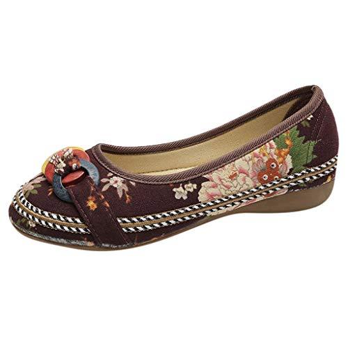 TUDUZ Damen Stickerei Pumps mit Bow, Nationaler Stil Schuhe Damen Sommer Sandalen Flach Schnürhalbschuhe Segelschuhe(C-Braun,39 EU)