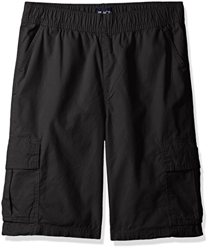 The Children's Place Boys' Uniform Pull On Cargo Shorts, Washed Blk, 8 slim