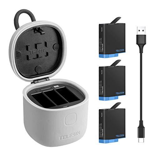 AuyKoo Cargador de Batería para GoPro Hero 8 7 6 5 Black, Cargador de 3 Canales (Prueba de Agua) con Lector Tarjeta de Memoria SD, 3 Batería de Repuesto y Type-C USB Cable