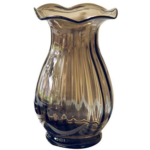 MTX Ltd Vase Jardiniere Kleine Calla Lily Mund Relief Glas Neo-Klassisches Wohnzimmer Handgetrocknete Blumen Eingesetzt für Schlafzimmer Wohnzimmer Büro Studie, a