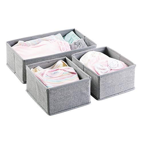 mDesign Aufbewahrungsbox 3er-Set – Drei Organizer in zwei Größen – Universelles Aufbewahrungssystem für Zubehör, z.B. Windeln, Tücher, Utensilien – grau