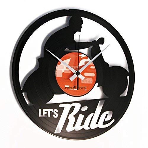 DISCOCLOCK - DOC101 - Let's RIDEWanduhr aus Vinyl Schallplattenuhr mit Vespa Motiv - Upcycling Design Uhr Wand-Deko Vintage-Uhr Retro-Uhr Made IN Italy 24 Uhr!