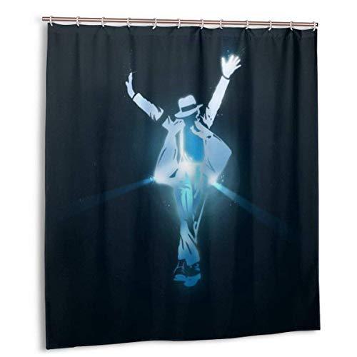 ChenZhuang Badezimmerdekor Duschvorhang Michael Jackson Wasserdichter Badvorhang aus Polyestergewebe mit 12 Kunststoffhaken 66 '' X72 ''