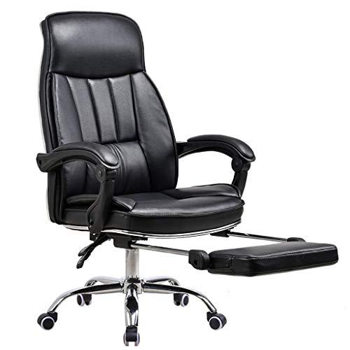 Comif- Slanted Boss stoel met voetsteun, luxe imitatie lederen bureaustoel, ergonomische rugleuning, hoge lading, vaste armleuning (zwart, bruin)