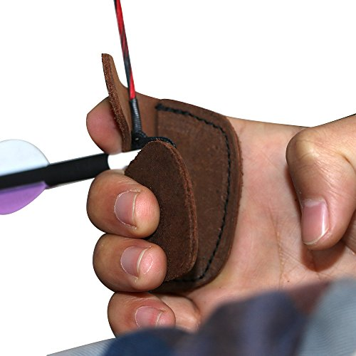 IRQ Cowhide Leather Finger Tab Archery Traditional Mini Finger Protection Right Left Hand (Brown)
