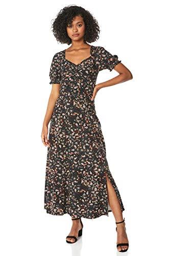 Roman Originals Vestido midi con estampado floral fruncido para mujer, informal, para primavera, verano, jardín, fiesta, barbacoa, vacaciones, manga corta, largo