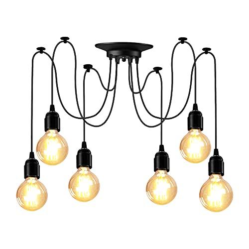 E27 Colgante Araña Vintage Lámpara de 6 Cabezas Luces de Techo Industrial Light, con Cable 1.8M Ajustable, para Comedor, Dormitorio, Salón, Hotel (Bombillas No Incluidas)