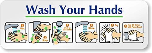 SmartSign Wash Your Hands Sign | 2' x 6' Aluminum Diamond Plate Door Sign, Hand Washing Instructions