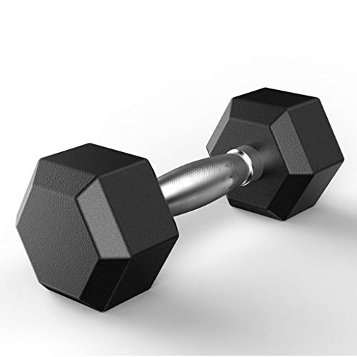 rubberized dumbbells 5-50 Pounds Dumbbells Grip Dumbbell Weights 5lbs, 10lbs, 20lbs, 30lbs, 50lbs Hex Rubber Dumbbell With Metal Handles for Strength Training Full Body Workout, Home Gym Dumbbells【 Ship from US 】